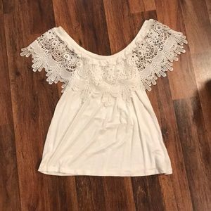 Juniors white lace off the shoulder top